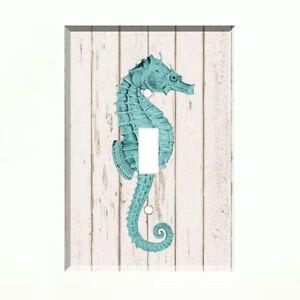 Aqua Seahorse Light Switch Plate Wall