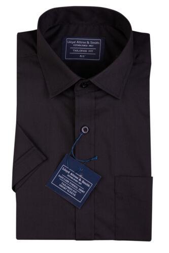 MENS NEW BLACK SHORT SLEEVE REGULAR COLLAR BUSINESS SHIRT SHIRTS 15 16 17 1//2