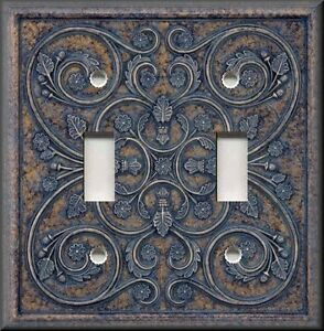 Metal Light Switch Plate Cover Home Decor French Pattern Image Blue Grey Brown