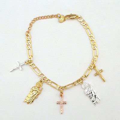 14k Gold Plated 3-Tone San Judas Cross Dangling Charms Bracelet with Extension