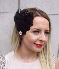 Black AB Opal Feather Fascinator Hair Clip Races Vintage Headpiece Silver 2905