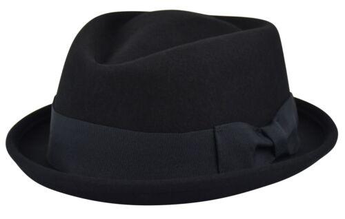 Men/'s Felt Wool Fedora Porkpie Hat Diamond Top Crushable Stingy Brim Hat FHe06