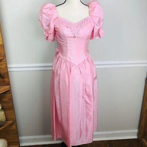 vintage 80s prom dress taffeta pink puffy tea length
