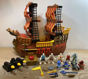 2006 Mattel Fisher PrIce Imaginext Pirate Ship Boat RETIRED with 5 Figures &EUC