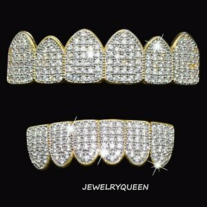 18K-Gold-Plated-High-Quality-CZ-Two-Tone-Top-amp-Bottom-Mouth-Teeth-GRILL