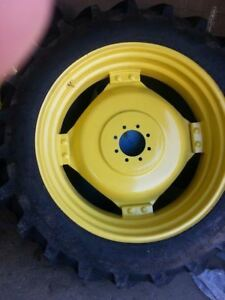 TWO-15-5x38-IH-Farmall-Deere-R-1-Bar-Lug-Tractor-Tires-on-8-on-8-Wheels