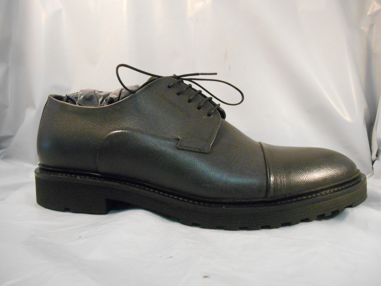 HUGO Boss Pure Derby Textured Black Leather Cap Toe Oxfords Men's 9 M   42 EU