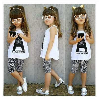 Kids Girls Leopard Half Leggings Suit Sleeveless T-Shirts Tops Sets Size 1-7Y