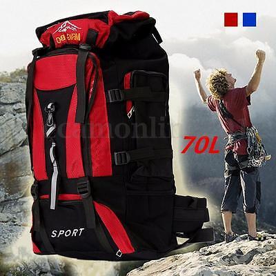 70L Waterproof Camping Rucksack Backpack Bag Outdoor Hiking Trekking Travelling