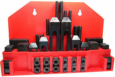 """RDGTOOLS 52PC 1/2"""" T-SLOT CLAMPING KIT WITH 3/8"""" STUD CLAMPS STEP BLOCKS T NUTS"""