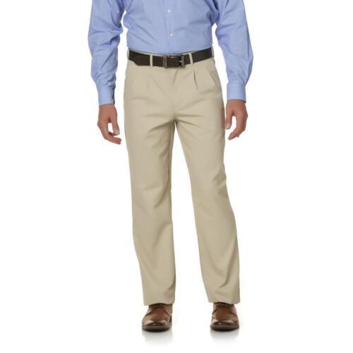 BE5P Basic Editions Mens Pleated Big+Tall Pants w// Elastic Side NWT Beige