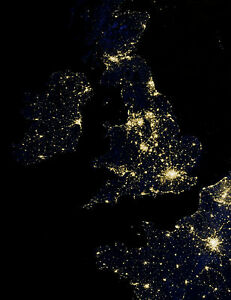 Framed Print Night Lights Of Uk From Space England