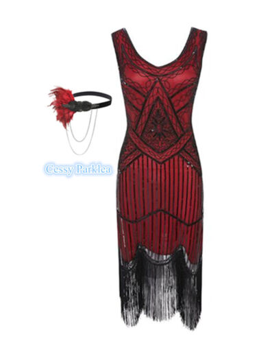 Red Black Ladies 1920s Roaring 20s Flapper Gatsby Costume Sequins Outfit Dress