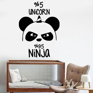Image Is Loading Vinyl Wall Decal Funny Panda Bear Ninja Nursery