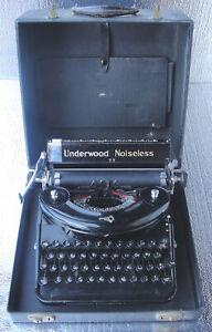 Stunning Antique Vintage Underwood Noiseless Model 77 Typewriter With Case & Key