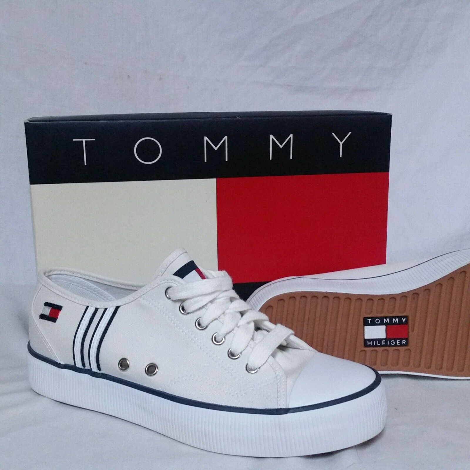 VTG Tommy Hilfiger Chaussures NEW Boat 90s Flag Canvas Lace Ski Sneaker Sport Air 7.5