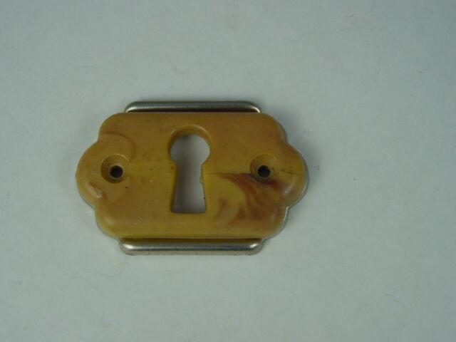Schlüssellochblende, Schlüssellochbeschlag 50er Jahre Metall + Kunststoff, kara