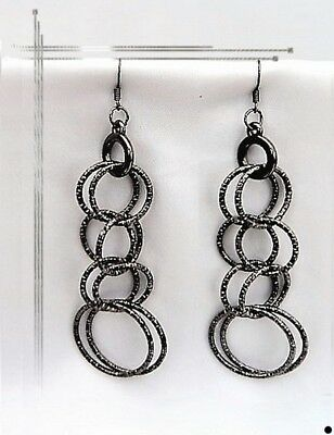 Selfless Boucles D'oreilles Pendantes Anneaux Julena Métal Couleur Anthracite Fashion Jewelry Earrings
