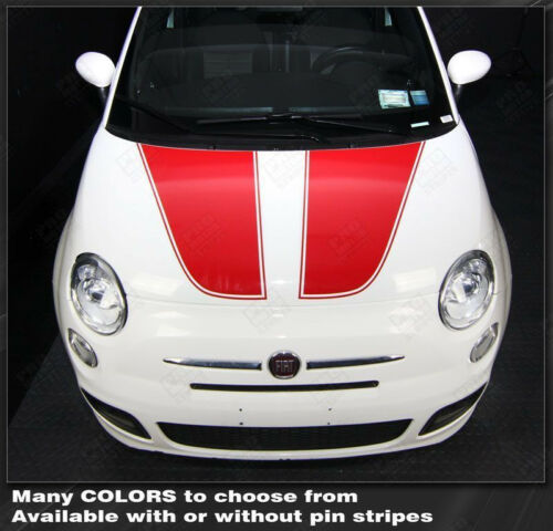 Choose Color Fiat 500 2007-2015 Hood Accent Stripes Decals