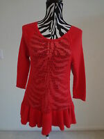 Nwt.ladies' Ella Moss Red Color Knitted See Through Body/ruffle Bottom Sweater;m
