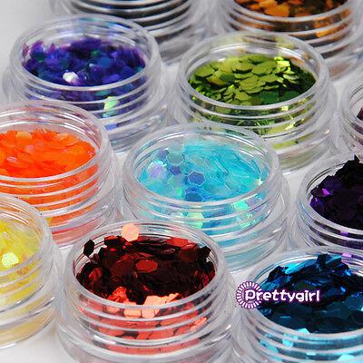 12 Color Pro Big Hexagon Acrylic Glitter Nail Art Tool Kit uv Powder deco