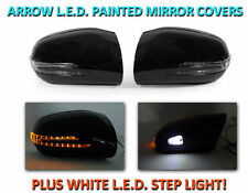 USA 00-02 W220 S Class Arrow LED Side Painted Black Mirror Covers+LED Step Light