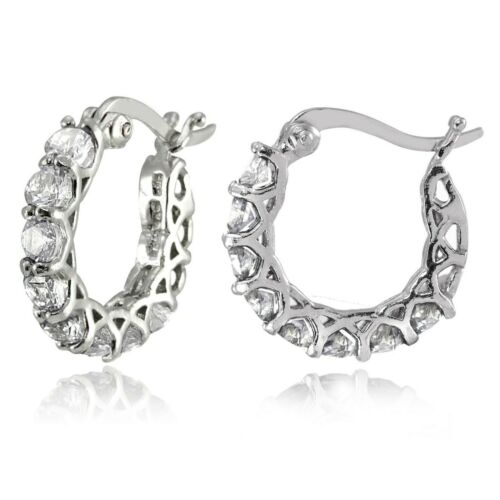 "14K White Gold Crystal Pave Hoop Earrings Medium 0.86/"" ITALIAN MADE PAVE"