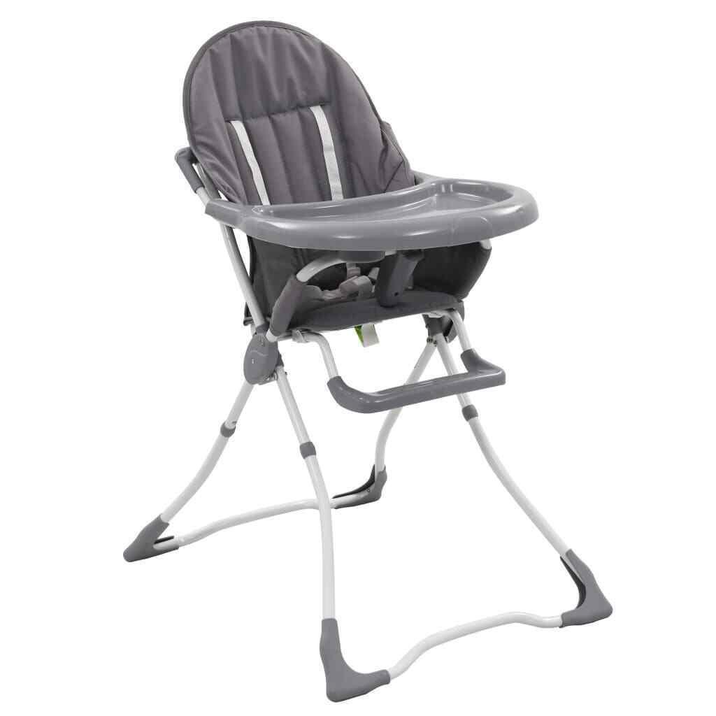 vidaXL Trona de Bebé Gris y Blanco Accesorios Niños Diseño Mobiliario Sillas
