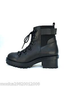 Zara-Cuero-Negro-Con-Cordones-Botines-Motero-Zapatos-UK5-EU38-US-7-5