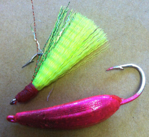 MACKEREL- 5 RIGS POMPANO SILLY WILLY LURES  -RIGGED w// TEASER BLUEFISH