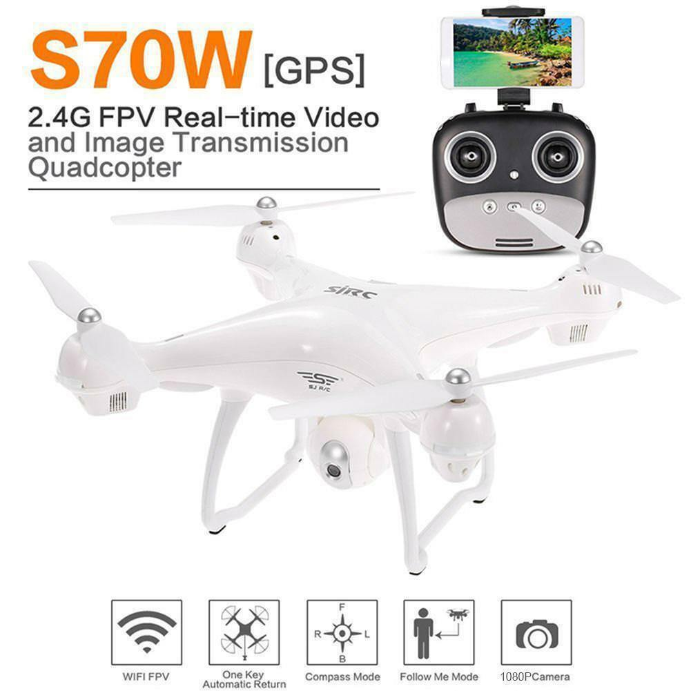 S70W RC Drone Quadcopter 2.4G FPV Wifi GPS 1080 4K Camera Follow Me Function