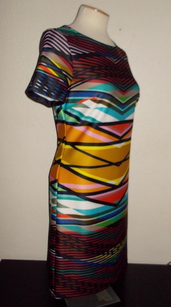 MAIA MS SIZE 8 MULTI-COLOR GEOMETRIC STRIPE SHORT SLEEVE SCUBA FASHION DRESS