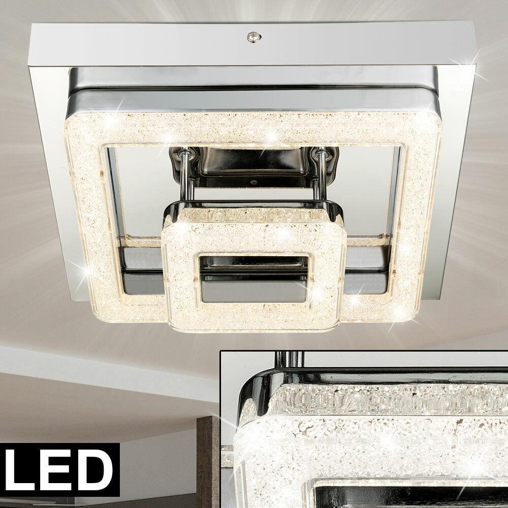 Design Decken Leuchte LED Beleuchtung 24W Kristalle Wohn Schlaf Ess Zimmer Lampe
