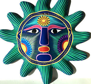 """Mexican Sun Face Clay Hand-Painted Wall Art 10"""" #5"""