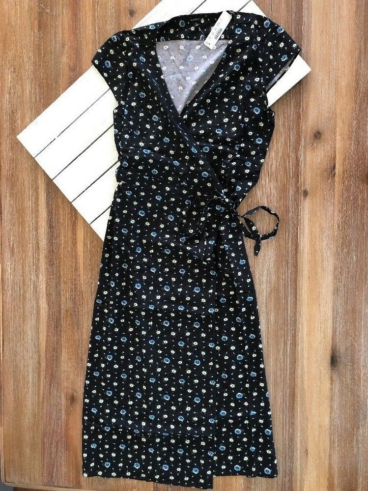 NWT J.Crew Mercantile Easy Wrap Dress in schwarz w Blau Weiß Daisies S, M, L, XL