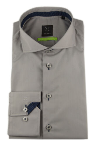 STONES Herren Langarm Business Hemd Shape Fit Shark Uni Popeline weiß blau grau