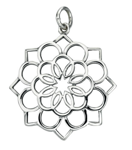 """Sterling Silver Cut Out Flower Pendant 18/"""" Beginnings,P3925"""