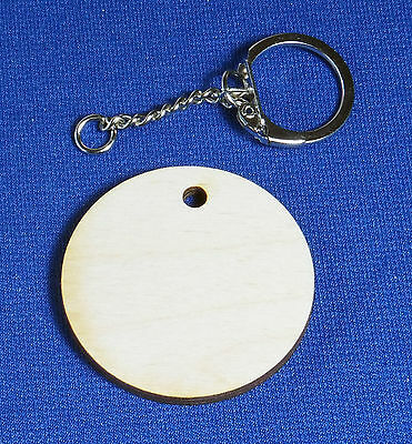 10 x Wooden 4mm Birch Plywood Craft Shapes Blanks Key fobs + Key rings chains