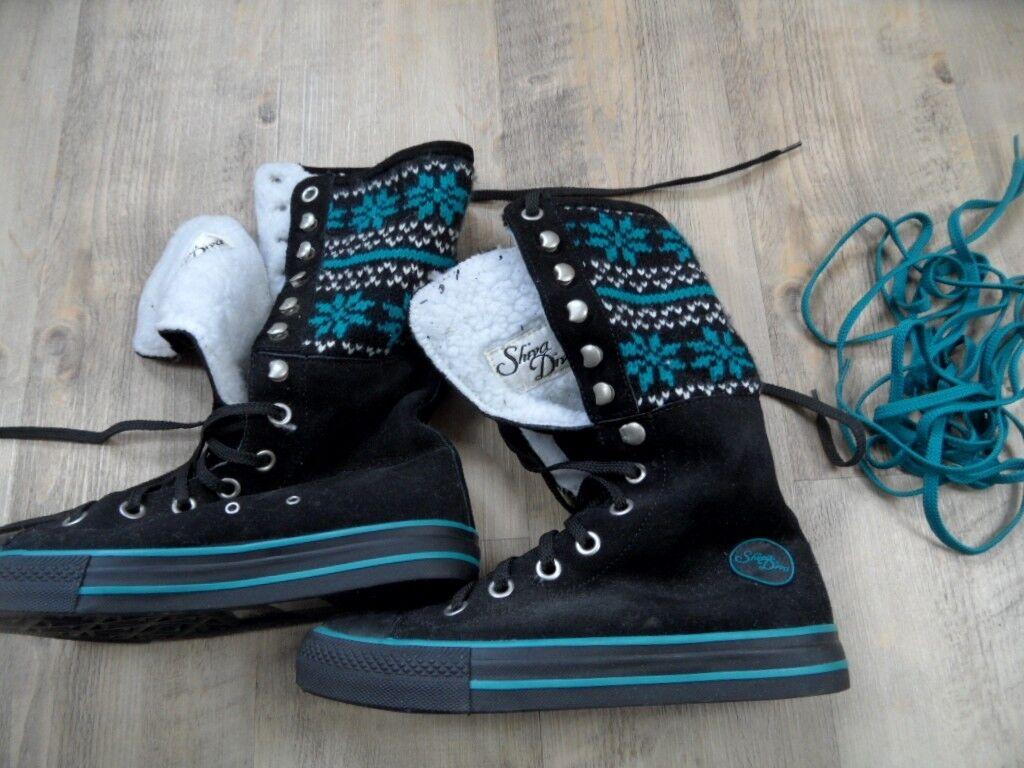 Shia diva Cool alta alimentados sneakers norwegermuster negros nuevo zc1017