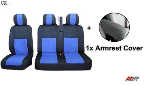 2+1 BLUE FABRIC SOFT SEAT /& ARMREST COVERS FOR VAUXHALL VIVARO RENAULT TRAFIC