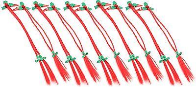 Zest 10 Natale Capelli Trecce Trecce Con Holly Sul Clip Diapositive Rosso-mostra Il Titolo Originale Sconti Prezzo