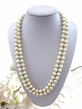 Chunky Long Ivory Glass Pearl Bead Rope Necklace Bridal Prom Look & Feel Genuine