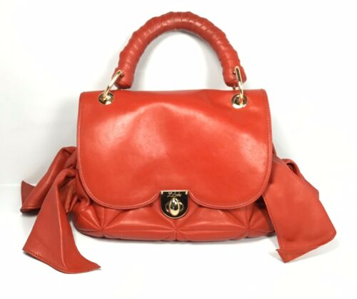 Details about  /Z SPOKE by Zac Posen Red Leather Tote Handbag Purse Quilted Side Tie Bows