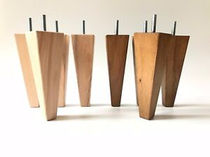4 x Wooden legs, REPLACEMENT legs for sofa, footstool ...