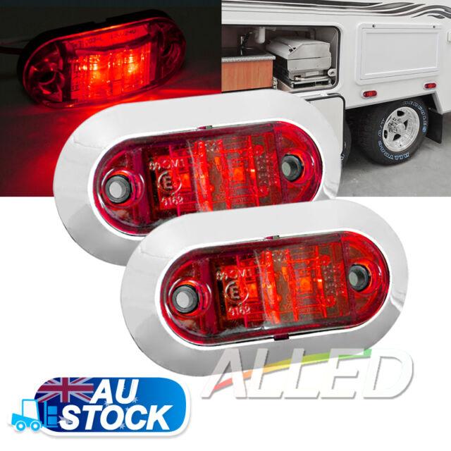 2X12v oblong Red Side Marker Light Van Trailer Truck Caravan RV Clearance Lamp