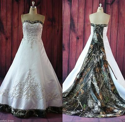 Plus Size Luxury Camo Wedding Dress Lace Up Bridal Gowns Custom Size 2-28 |  eBay