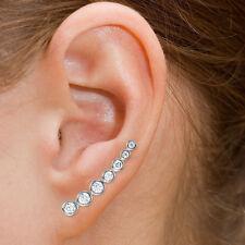 Sterling silver 925 CZ Bar Earrings Climber Fish Hook Earring 925 Silver E11