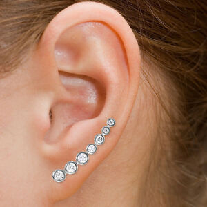 Image Is Loading Sterling Silver 925 Cz Bar Earrings Climber Fish