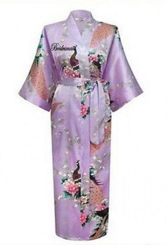 Personalised Peacock  Women Bridal Bridesmaid Kimono Robe Satin Night Dress UK