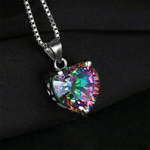Mystic-Silver-Necklace-Gift-Jewelry-Rainbow-Chain-Heart-shaped-Pendant-Topaz-925